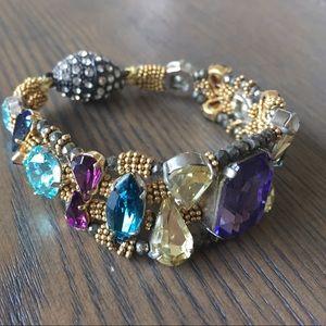 Anthropologie Toya Gold Gem Multi Color Bracelet